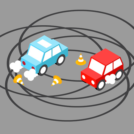 drift: Drift car isometric.Vector illustration. EPS 10. No transparency. No gradients.