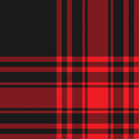 cloth manufacturing: Menzies tartan black red kilt fabric texture seamless pattern.Vector illustration. EPS 10. No transparency. No gradients.
