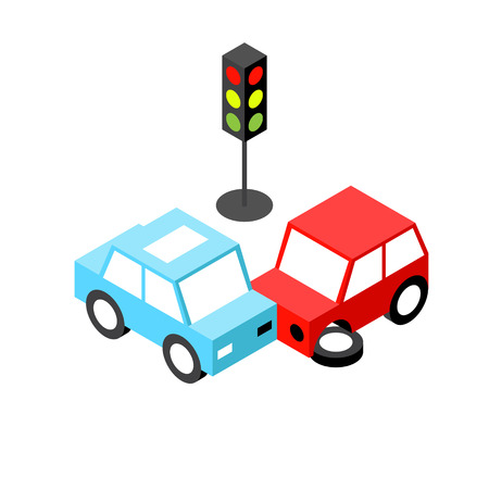 Car accident traffic light isometric.Vector illustration. EPS 10. No transparency. No gradients.