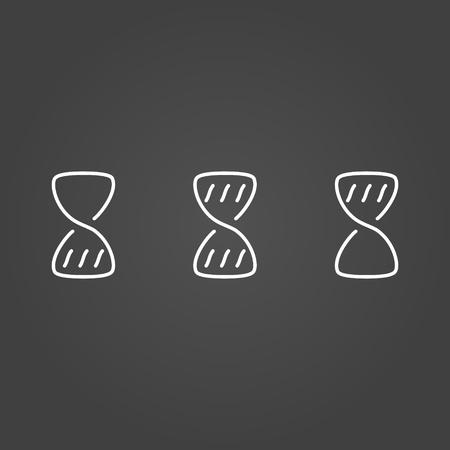 wait: Hourglass wait set icons draw effect. Vector illustration. Illustration