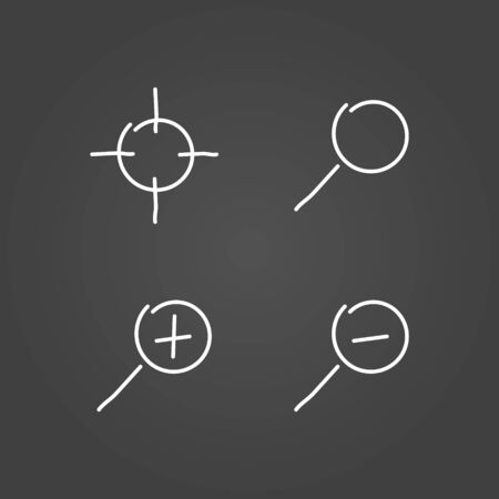 low scale: Zoom set icons draw effect. Vector illustration.