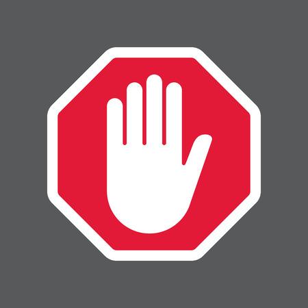 Hand blockiert Stop-Schild.
