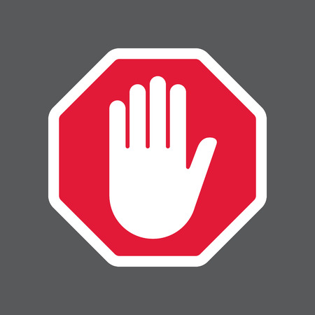 red sign: Hand blocking sign stop.