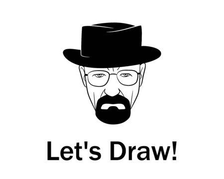 Narysujmy mężczyznę w kapeluszu z brodą.