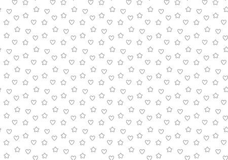 e ink: Favorite stars and hearts seamless pattern. Illustration
