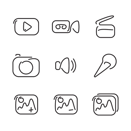 multimedia icons: Video and multimedia set icons. Vector illustration.