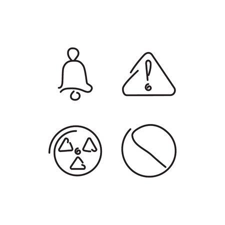 irritation: Danger and alarm set icons. Vector illustration.