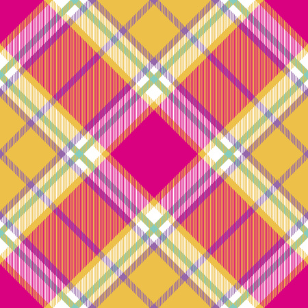 Madras: yellow pink indian madras diagonal fabric texture seamless pattern.