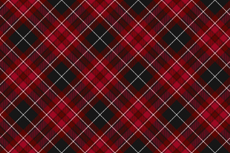Pride of wales fabric diagonal textures red tartan seamless horizontal background. Vector illustration.