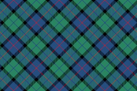 checkered skirt: flower of scotland tartan fabric texture seamless diagonal pattern .Vector illustration.