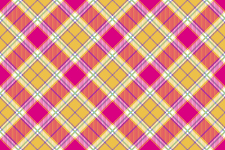 Madras: plaid indian madras fabric diagonal texture seamless background. Vector illustration.