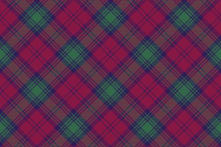 Lindsay tartan fabric texture diagonal pattern seamless .Vector illustration. Illustration