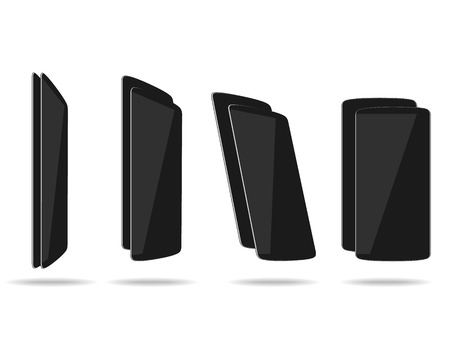foreshortening: Black thin smartphones face and back different foreshortening. Vector illustration.
