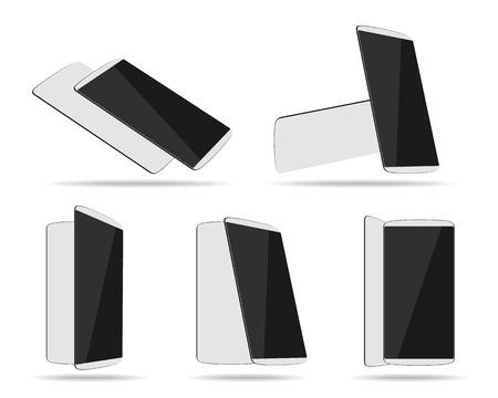 White smartphones face with back different foreshortening. Vector illustration. Ilustração Vetorial