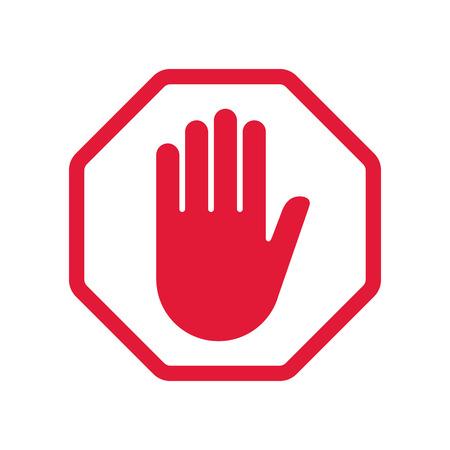 Rad hand blocking sign stop .Vector illustration. EPS 10.  イラスト・ベクター素材