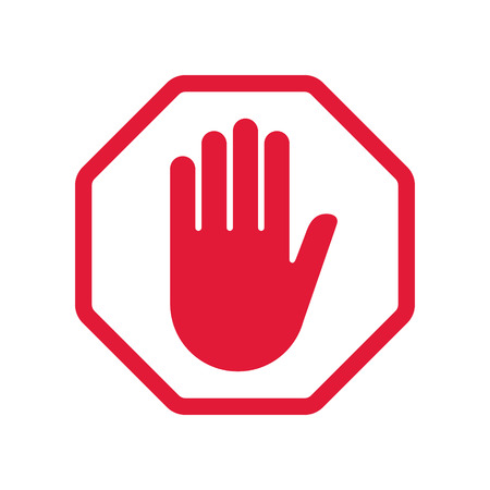 Rad hand blocking sign stop .Vector illustration. EPS 10. Stock Illustratie