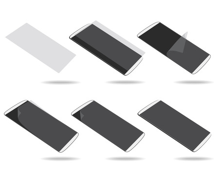 foreshortening: White smartphones screen protector set different foreshortening. Illustration