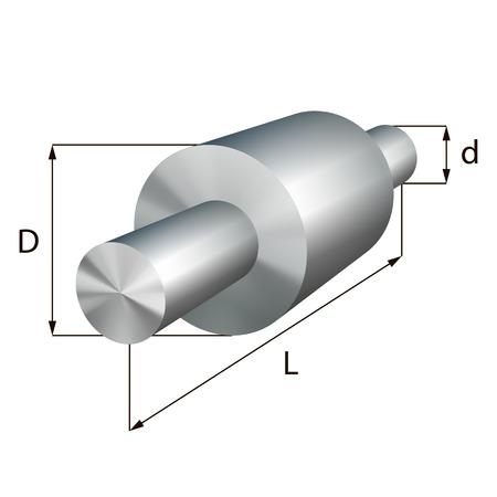 shafts: Steel shafts with steps industrial metal object. Illustration