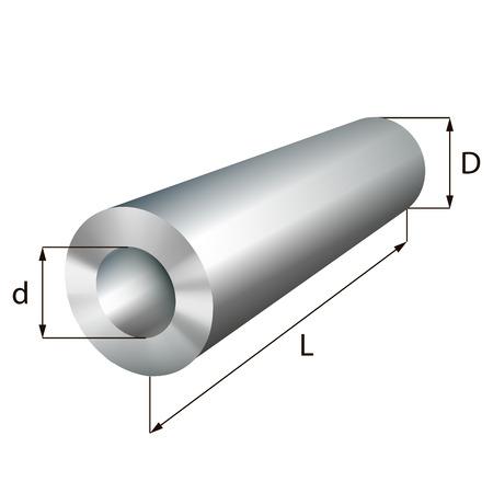 Stalen cilinder buis industriële metalen voorwerp. Vector illustratie. EPS-10.