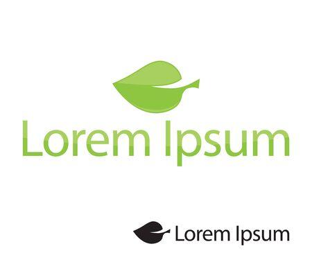 Green leaf eco logo silhouette.