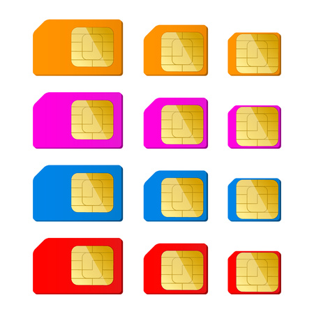 cdma: Mini, micro, nano sim card in red, blue, pink, orange color. Illustration