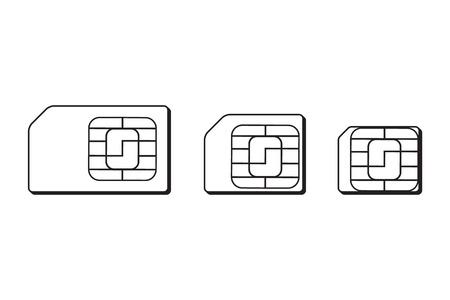 cdma: Mini, micro, nano sim cards silhouette outline.