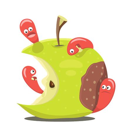 cartoon larva: Worm eaten rotten apple flat design vector illustration Illustration