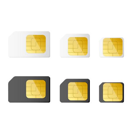 cdma: Mini, micro, nano sim cards in black and white color.