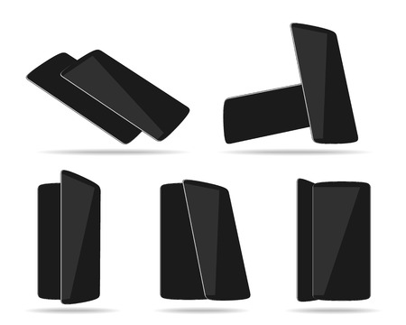foreshortening: Black smartphones face with back different foreshortening. Vector illustration.