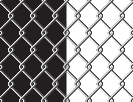 metalic texture: Steel mesh metalic fance black and white background seamless texture. Vector illustration. Illustration