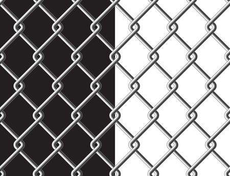 metalic background: Steel mesh metalic fance black and white background seamless texture. Vector illustration. Illustration