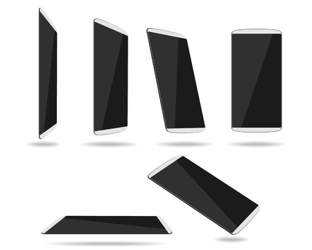 diminishing view: White thin smartphones face different foreshortening. Vector illustration
