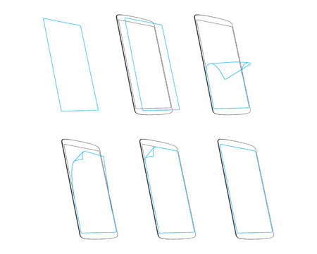 the protector: smart phone screen protector  outline vector illustration