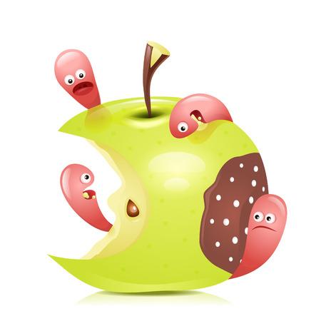 maggot: Worm eaten rotten apple 3D. Vector illustration.