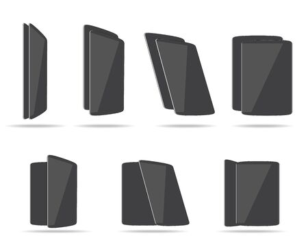 angles: flat tablets different angles vector illustration