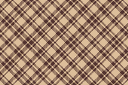 cloth manufacturing: Beige brown diagonal check plaid seamless background. Vector illustration.