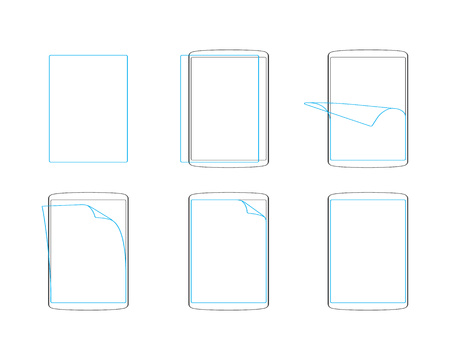protective: Set apply screen protector flat icons  outline vector illustration