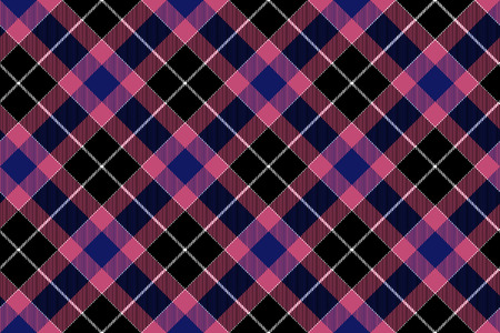 Pink blue black check plaid seamless pattern. Vector illustration. Illustration