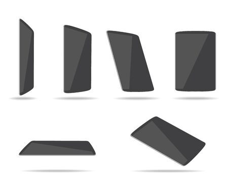 touchpad: tablet computers different foreshortening vector illustration