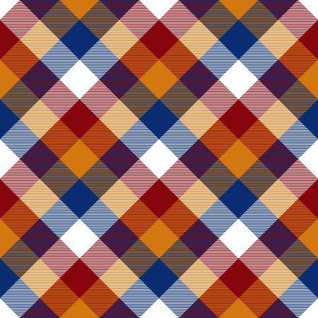 checkered skirt: Red orange blue white diagonal check seamless pattern. Vector illustration. EPS10. Illustration
