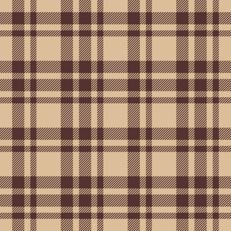 Beige brown check plaid seamless fabric texture. Vector illustration.