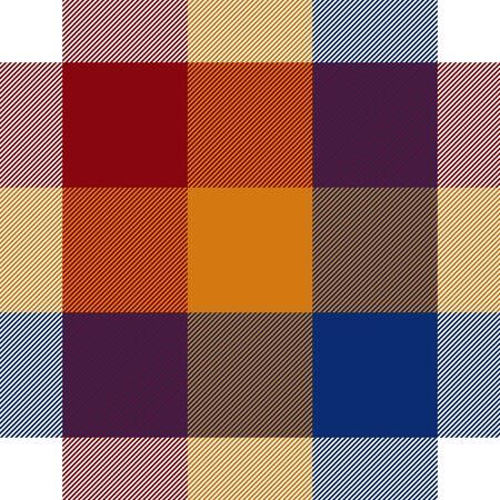 red plaid: Red orange blue white seamless check plaid.