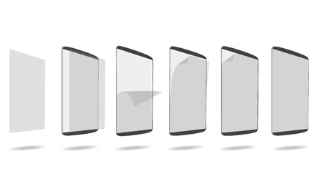 protector: set apply screen protector tablet PC vector illustration