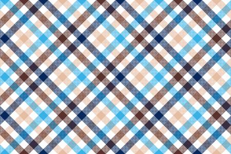 Blue beige diagonal check seamless pattern. Vector illustration.