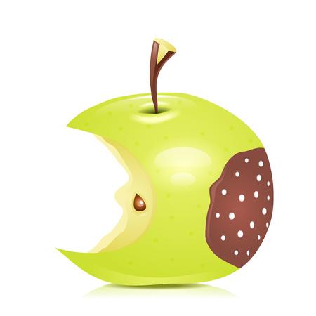 rotten apple. illustration.