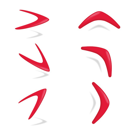 wooden boomerang: Red color boomerang different foreshortening. illustration.