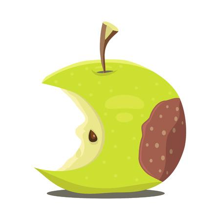 rudeness: Rotten apple. illustration.