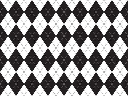 argyle: Black white argyle seamless pattern. Flat design. illustration.