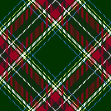 irish culture: Green red diagonal check tartan textile seamless pattern