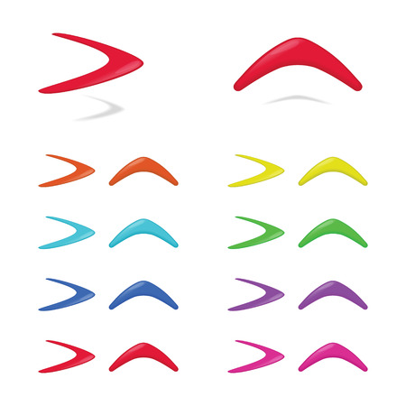 boomerangs: Different colors boomerangs. illustration. Illustration